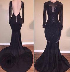 Black Illusion Black Mermaid Satin Prom Dresses,Backless prom dress,Sexy dress,