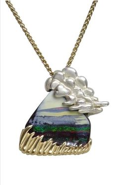 """""""Emerald Isle"""" pendant-beautiful boulder opal with Clouds made of Sterling silver and grass made of gold by designer Whitney Robinson. Gemstone Colors, Handcrafted Jewelry, Bridal Jewelry, Jewelry Crafts, Opal, Wedding Rings, Emerald Isle, Pendant Necklace, Jewels"""