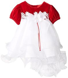 Rare Editions Baby Girl First Christmas Red Velvet Dress Set 3m9m 6 months ** Click image to review more details.