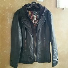 Black leather jacket with hoodie Brand new very cute jacket with lace embellishments and hoodie black/dark brown color very flattering brand is Fantazia listed as apt 9 for visibility fantazia Jackets & Coats Utility Jackets