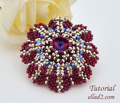 Tutorial Pendant Purpurea Flower  beading pattern PDF by Ellad2, $6.50