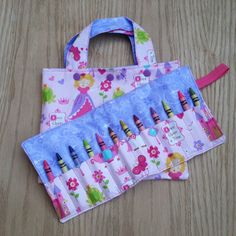 Princess Tote Bag and Crayon Roll  Toddler Tote  by Sewing4Babies