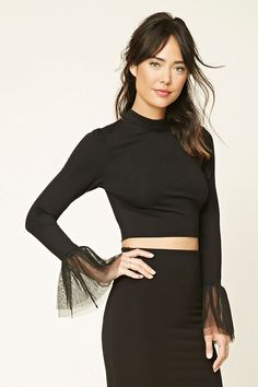 Forever 21 Contemporary - A stretch-knit top featuring a cropped length, long bell sleeves with mesh tulle trim, a high neckline, and a keyhole-back with a hook-eye closure.
