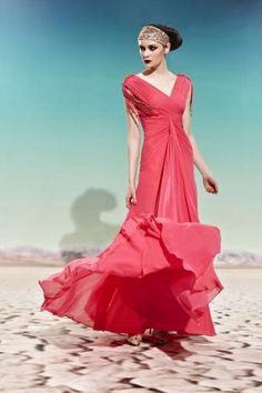 Watermelon V-neck Ruched Long Prom Dress with Ribbon Detail