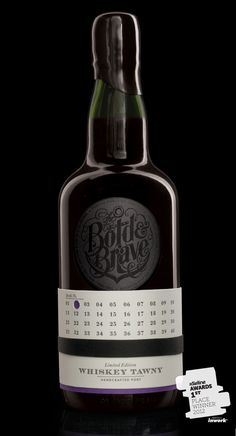 Bold & Brave Port label - love use of printed label (with bottling date) and various layers of printing elements.