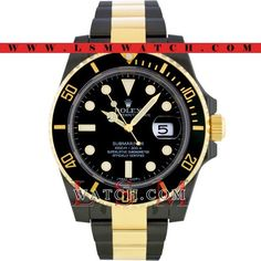 Rolex 18K Gold & Steel PVD/DLC SUBMARINER BLACK CERAMIC Oyster Watch 116613-NEW #Rolex #Casual
