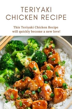 This Teriyaki Chicken Recipe will quickly become a new love! In this one-pan recipe, bite-size chicken breasts pieces are sautéed in a skillet then coated with an easy and perfect teriyaki sauce. Chicken Teriyaki Sauce, Healthy Dinner Recipes, Cooking Recipes, Freezer Cooking, Freezer Meals, Cooking Tips, Vegetarian Recipes, Fingerfood Party, Snacks Sains