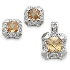 Sterling Silver Champagne Clear CZ Pendant and Earring Set - JewelryWeb JewelryWeb. $85.70