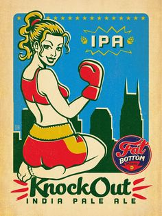 Fat Bottom Brewing Co. Packaging and Posters Beer Cartoon, Australia Crafts, Sous Bock, Cool Coasters, City Icon, Beer Girl, Beer Poster, Beer Company, Pop Characters