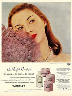 Chose Yardley's for an English complex. #vintage #ad #makeup #cosmetics #1950s #pink #redhead