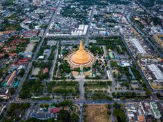 Aerial view of Phra Pathom chedi Oldest Buddhist structure in Thailand. One of the most important places for Buddhists in Thailand can be found in Nakhon Pathom one of the oldest cities in Thailand.