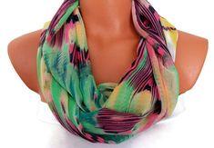 Silk Chiffon Scarf Infinity Scarf Multicolor by SuHandmadeStore