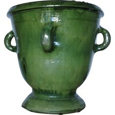 French Provençal Glazed Terracotta Green Anduze Urn w Four Handles from nobiliantiques on Ruby Lane Shabby Chic Garden, Ceramic Planters, Small Gardens, Garden Planters, Garden Inspiration, Garden Furniture, Container Gardening, Terracotta, Glaze