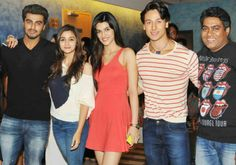 The #Heropanti stars #TigerShroff and #KritiSanon come together with the hit jodi of #AliaBhatt and #ArjunKapoor for the screening of the latter's recent mega hit #2States.