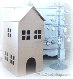 Making a Cat Playhouse - White Lace Cottage (love this for a bunny house! Cat House Diy, Toy House, Cat Playhouse, Cat Condo, Animal Projects, Animal House, Diy Stuffed Animals, Diy Toys, Play Houses
