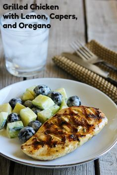Grilled Chicken Recipe with Lemon, Capers, and Oregano [from Kalyn's Kitchen] #SouthBeachDiet #Low-Glycemic #LowCarb #GlutenFree #Grilling