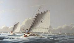 Nicholas Berger, Two Over Three, oil on board, 33 X 60 inches Nantucket, Sailing Ships, Oil, Board, Painting, Painting Art, Paintings, Painted Canvas, Sailboat