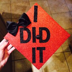 Graduation cap decoration :) black and red sparkles. Woohoo!