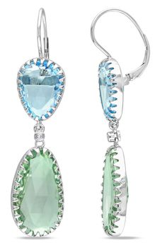 42 Ct Green Amethyst And Blue Topaz Earrings In 14k Gold