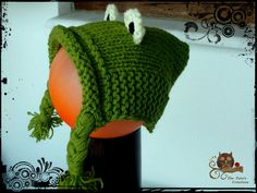Knitted children's frog cap !!! Scarves, Winter Hats, Cap, Scarfs, Baseball Hat