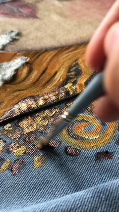 Painted custom denim jackets By Hand painted custom denim jacket Gustav Klimt Golden tears Painted Denim Jacket, Painted Jeans, Painted Clothes, Hand Painted, Gustav Klimt, Custom Denim Jackets, Diy Clothes Videos, Jean Skirts, Denim Skirts