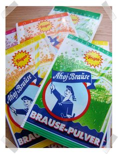German effervescent powder (various flavors), Brause-Pulver. Found it at Old Town Spring, German Gift House.