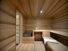 Ski Chalet With A Modern Interior Design. happens to have a big sauna to Spa Interior, Baths Interior, Modern Interior Design, Sauna Design, Cabin Design, Design Hotel, House Design, Sauna Steam Room, Sauna Room