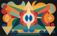 Composición sobre las palabras, peras, manzanas y melocotones, 1942. Arte abstracto - Auguste Herbin
