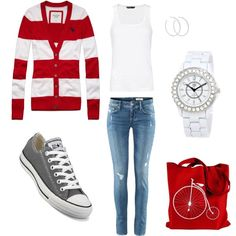 Red, White, and Gray by hhferguson on Polyvore