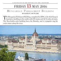 HUNGARIAN PARLIAMENT BUILDING, BUDAPEST, HUNGARY. The Hungarian Parliament Building, completed in 1896, is the third-largest legislative building in the world, with 691 rooms and 12 ½ miles of stairs. The Neo-Gothic-style building faces the Danube, and is a popular stop for cruise tours along the river. #1000Places #Wanderlust  #BestoftheDay #Instagood #Vacation #travel