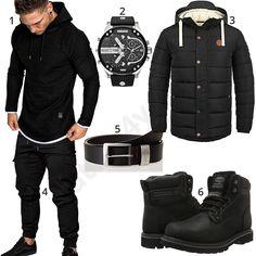 Schwarzes Herrenoutfit mit Amaci&Sons Hoodie und Sweatpants, Diesel Herrenuhr, pierrre cardin Ledergürtel, Solid Männer-Parka und Dockers Stiefel.