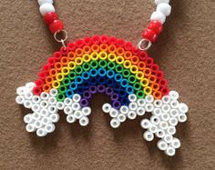 Rainbow and Clouds Kandi Rave Necklace Perler Beaded- Pride