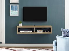 Martin Home Furnishings Shallow Wall Mounted TV Stand for TVs up to Color: Burka Bark Floating Tv Console, Floating Tv Stand, Installation Home Cinema, Wall Installation, Martin Furniture, Tv Furniture, Home Theater Setup, Home Theater Seating, Montage Tv