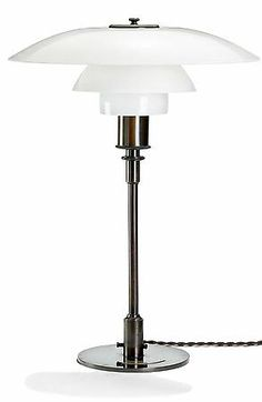 PH - 4/3 Table Lamp in Patinated Brass with Opaque Glass Shades
