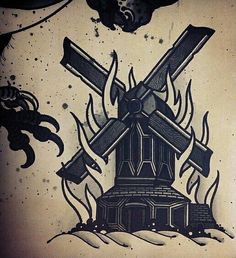 #traditional #tattoo #mill #building #fire