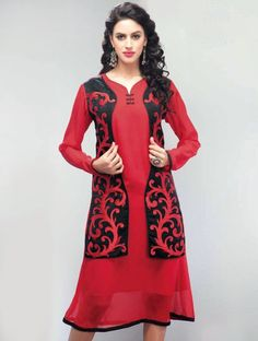 Amass compliments wherever you go dressed in this stupendous red designer kurti with stylish black koti, this reception kurti decorated with fancy embroidery work.