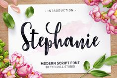 $1.00 for a limited time! Stephanie Script is a new modern script font with an irregular baseline. Trendy and feminine style. Stephanie looks lovely on wedding invitations, thank you cards, quotes, greeting cards, logos, business cards and more. Perfect for using in ink or watercolour. Including initial and terminal letters, alternates, ligatures and multiple language support.