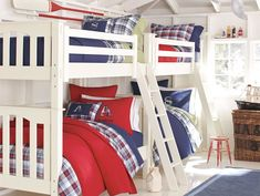 20 Cool Boys Bedroom Designs to Inspire You : Minimalist White Themed Boys Bedroom with All White Painted Two Bunk Bed For Shared