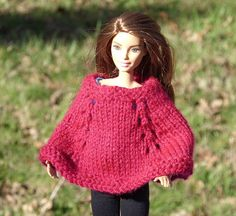 Barbie Doll Poncho  Knitted   Dark Rose or by MeadowLakeTreasures