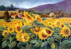 Petals Ablaze by Erin Dertner ~ 15 x 22 - Impressionist Oil painting of a field of sunflowers blooming in the South of France, near Toulouse. Signed and Numbered Limited Edition Giclée Reproduction on premium quality paper.