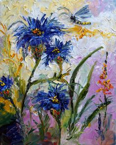 Impressionist Cornflowers Provence Impressionist ORIGINAL Oil Painting By Ginette by Ginette, $600