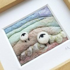 Original textile art by British artist Maxine Smith. A needle felted and embroidered miniature sheep landscape picture inspired by the natural environment. Textile artist Maxine Smith takes inspiration from the dramatic landscapes, hillsides and hedgerows of Shropshire, England. The