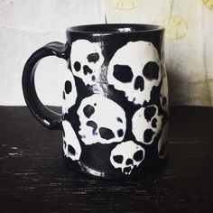 Wall of Skulls Mug... #skull #skulls #mug #mugshot #macabre #coffeemug #pottery #ceramics #blackandwhite #beermug #etsy #etsyshop