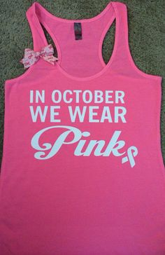 In October We Wear Pink - Ruffles with Love - Breast Cancer Tank - Racerback