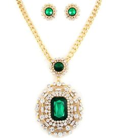 """Emerald Green Clear Crystal Accent Pendant 20"""" Evening Necklace Earring Set  #FashionJewelry"""