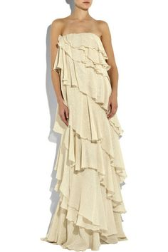 Halston ruffle dress.  I love it so.  Even if I would look like a whale.  I just want to wear it.