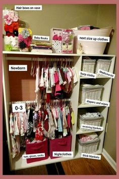 Uncluttering the baby room! Nursery Organization Ideas - Creative storage solutions for a small baby room without a closet - no closet solutions and more brilliant organization ideas for the home in the nursery Nursery Closet Organization, Small Space Organization, Organization Ideas, Storage Ideas, Storage Cubes, Closet Organisation, Clothing Organization, Extra Storage, Storage Baskets