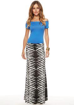 Marcie Zebra Printed Maxi Skirt
