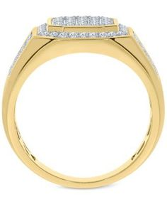 Men's Diamond Cluster Ring (1 ct. t.w.) in 10k Gold - Gold