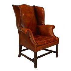 Turn of the Century Georgian Style Leather Wingback Chair | From a unique collection of antique and modern armchairs at https://www.1stdibs.com/furniture/seating/armchairs/ Gorgeous but big $$$